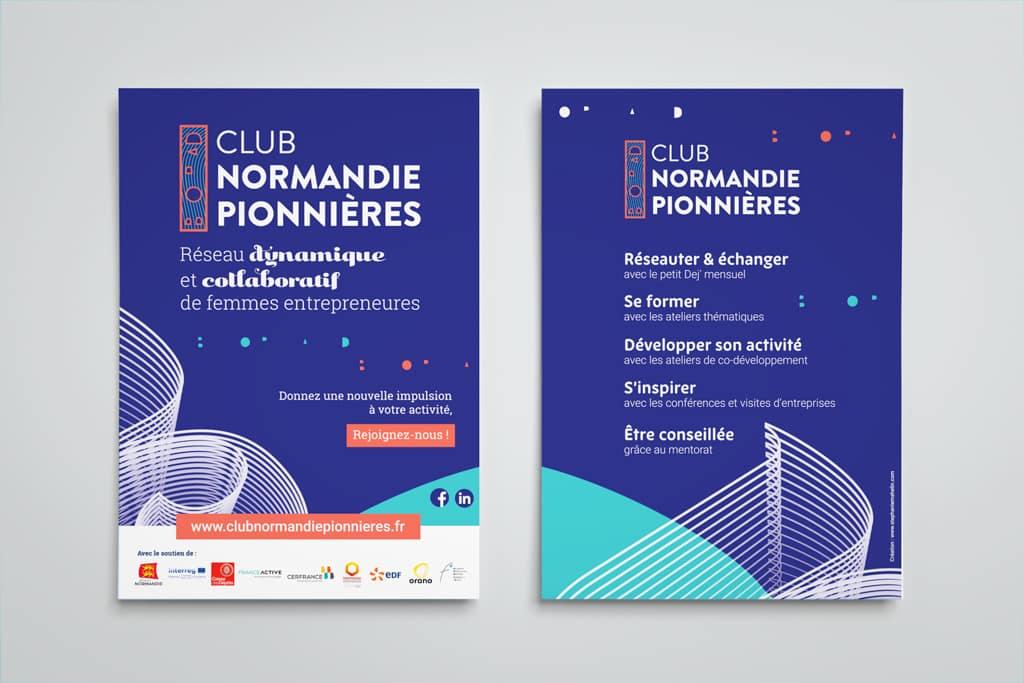 Flyer bleu Club Normandie Pionnières