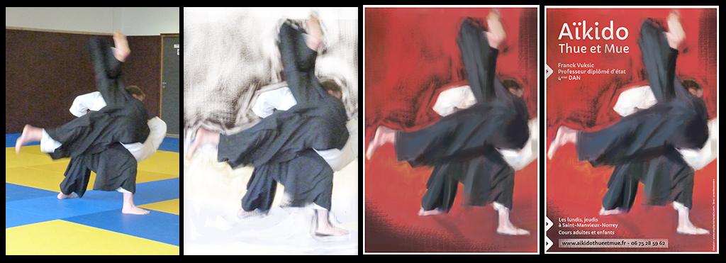 Affiche affiche aikido création étape par étape